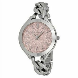 Michael Kors silver watch thin chain pink face